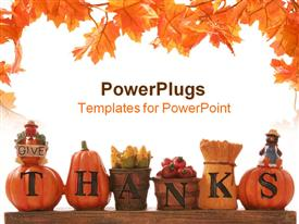 PowerPoint template displaying thanksgiving decoration with beautiful leaves design and white background