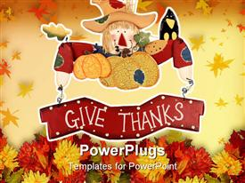 PowerPoint template displaying wooden thanksgiving scarecrow decoration with a sign give thanks