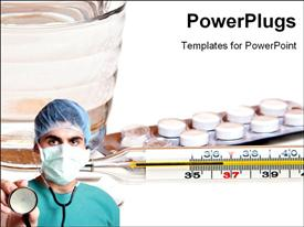 PowerPoint template displaying a surgeon with a number of medicines in the background
