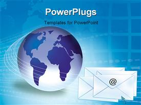 PowerPoint template displaying email / internet concept showing globe and envelopes in the background.