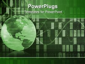 PowerPoint template displaying the Earth being shown in form of cyber data grid