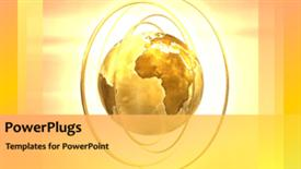 PowerPoint template displaying animated rotating gold globe with brightly light background