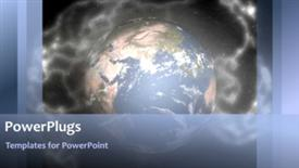 PowerPoint template displaying video with blue rotating earth globe in misty environment