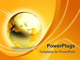 PowerPoint template displaying amber gold orange globe world Earth, wave background