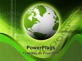 PowerPoint template displaying white and green earth globe with lots of binary codes
