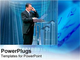 PowerPoint template displaying a man smiling and making a phone call with high buildings