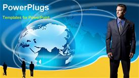 PowerPoint template displaying silhouette of business professionals with earth globe in blue background
