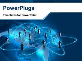 PowerPoint template displaying anumber of figures connected to each other with bluish background