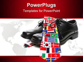 Business man's shoes with country flags tie presentation background