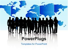 PowerPoint template displaying business people and map, blue