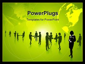 PowerPoint template displaying a number of people with yellowish background and place for text