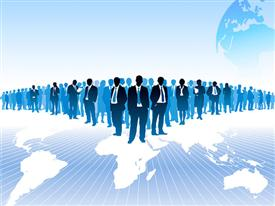Businesspeople are standing on a large world map. The base map is from Central Intelligence Agency powerpoint theme