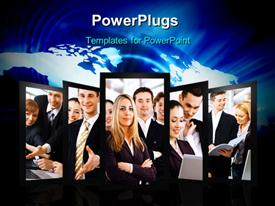 PowerPoint template displaying collage of business professionals over world map in blue background