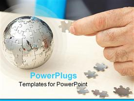 PowerPoint template displaying a person making the globe with the help of puzzle pieces