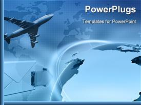 PowerPoint template displaying an airplane with a globe and map in the background