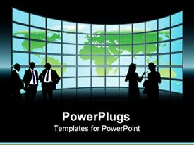 People are standing in front of a large display with world map conceptual business illustration powerpoint design layout
