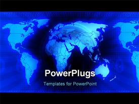 PowerPoint template displaying three dimensional computer generated depiction global business