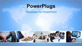 PowerPoint template displaying a number of professionals with bluish background - widescreen format