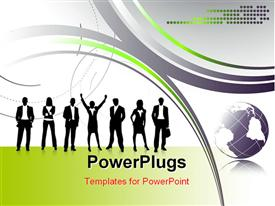 PowerPoint template displaying a  number of professionals with multicolored background