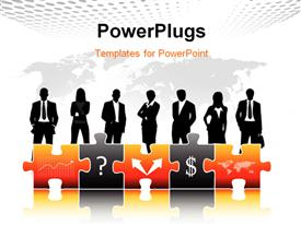 PowerPoint template displaying a silhouettes of business men and women with some puzzles in front of them