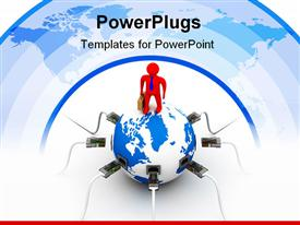 PowerPoint template displaying global communications metaphor with red business man on top of globe with Ethernet plugs and cables