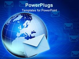 PowerPoint template displaying global e-mail technology. Internet and e-mail concept. Global communication in the background.