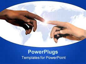 PowerPoint template displaying two hands touching each other with the Earth in the background