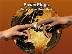 PowerPoint template displaying two hands meeting with light spark, world, globe, Earth