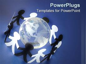 PowerPoint template displaying a number of people surrounding the Earth