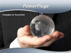 PowerPoint template displaying globe on the business men's hands
