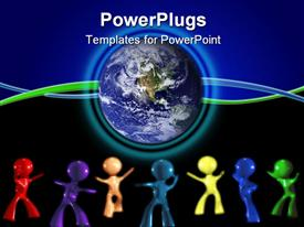PowerPoint template displaying 3D colored men dancing beside globe on blue and black background