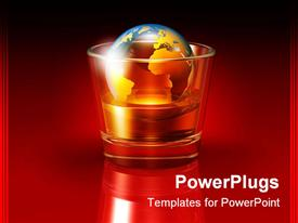 PowerPoint template displaying large transparent globe floating in a glass filled with an alcoholic beverage in the background.