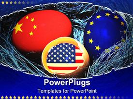 PowerPoint template displaying blue nest with global economy chicken eggs