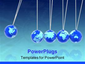 PowerPoint template displaying concept with the pendulum and the globes in the background.