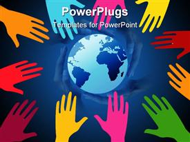 PowerPoint template displaying global effort on white