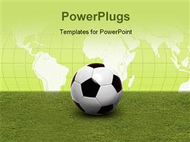 PowerPoint template displaying soccer ball on green pitch with world map in background