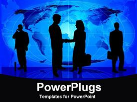 Blue background with silhouette of business people presentation background