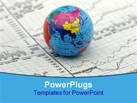 PowerPoint template displaying global markets concept - stock charts and a globe