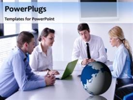 PowerPoint template displaying a number of professionals with a bluish background