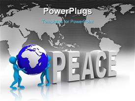 PowerPoint template displaying the word peace with a globe and a map in background