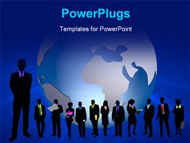 PowerPoint template displaying a silhouette of business men and women with a globe behind them