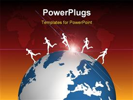 Five people running across the earth powerpoint design layout