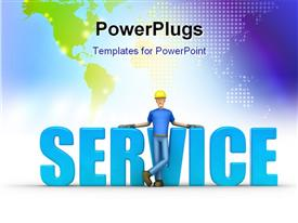 PowerPoint template displaying the word service with a construction worker in front of it