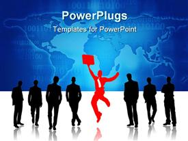 Group of people against one jumping powerpoint theme