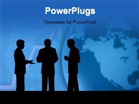 Background illustration three businessmen talking business talk powerpoint design layout