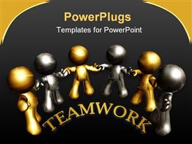 PowerPoint template displaying gold and silver figure working together as team