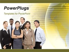 PowerPoint template displaying a number of professionals with yellowish background