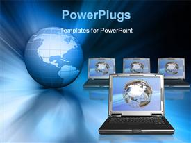 PowerPoint template displaying a globe with a lot of laptops with bluish background