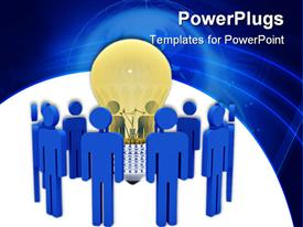 PowerPoint template displaying a number of people with a bulb in the middle