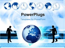 Busy business people hurry to flights or appointments to do global business template for powerpoint